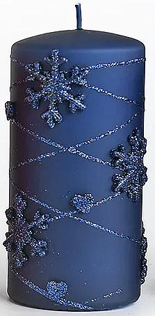 Lumânare decorativă, albastră, 7x18 cm - Artman Snowflake Application — Imagine N1