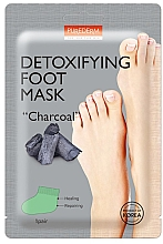 """Parfumuri și produse cosmetice Mască pe bază cărbune pentru picioare - Purderm Detoxifying Foot Mask """"Charcoal"""""""
