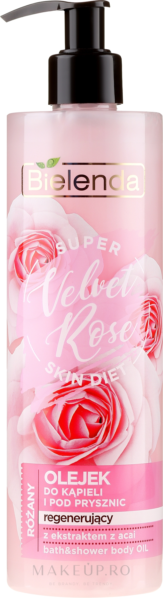 """Gel de duș """"Trandafir"""" - Bielenda Super Skin Diet Velvet Rose — Imagine 400 ml"""
