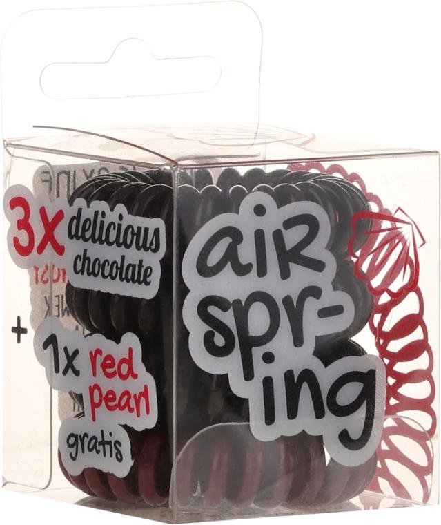 Set elastic de păr, 4 buc., ciocolată+roșu - Hair Springs