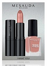 Parfumuri și produse cosmetice Set - Mesauda Milano I Want You Kit (lipstick/3.5g + nail polish/10ml) (Bubble Gum)