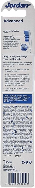 Periuță de dinți, tare, cu capac, albastru - Jordan Advanced Toothbrush — Imagine N2