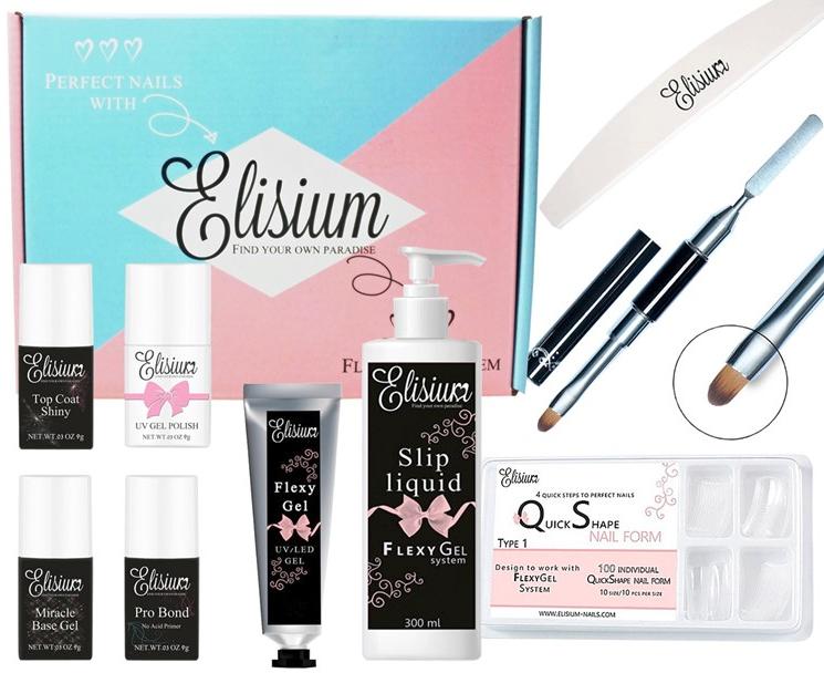 Set - Elisium ( bond/primer/8ml + base/gel/9g + top/coat/9g + nail/gel/25g + liquid/flexy/gel/300ml + nailfile + gel/brush + gel/polish/8ml + tips) — Imagine N1
