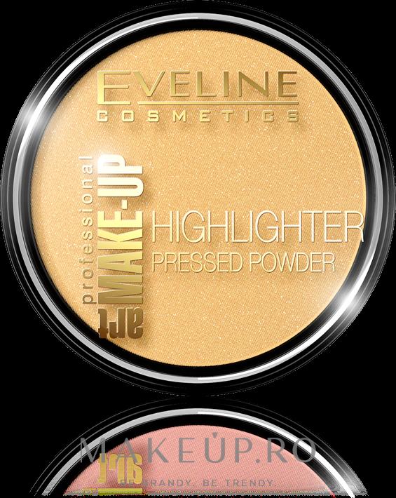 Pudră compactă iluminatoare - Eveline Cosmetics Highlighter Pressed Powder Art Professional Make-up — Imagine 55 - Golden