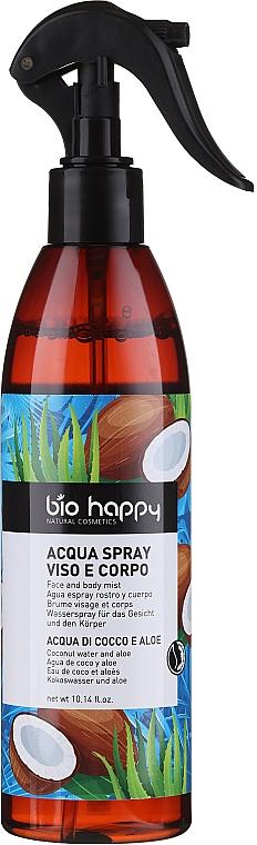 """Spray pentru față și corp """"Apă de cocos și aloe"""" - Bio Happy Face And Body Mist Coconut Water And Aloe — Imagine N1"""