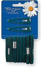 Parfumuri și produse cosmetice Set agrafe și elastice de păr, verde, 2+12 bucăți - Top Choice