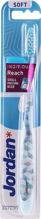 Periuță de dinți, albastru deschis, cu capac de protecție - Jordan Individual Reach Soft Toothbrush — Imagine N1