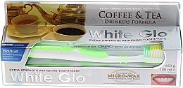 """Parfumuri și produse cosmetice Set """"Pentru amatori de cafea și ceai"""", periuță verde - White Glo Coffee & Tea Drinkers Formula Whitening Toothpaste (toothpaste/100ml + toothbrush)"""