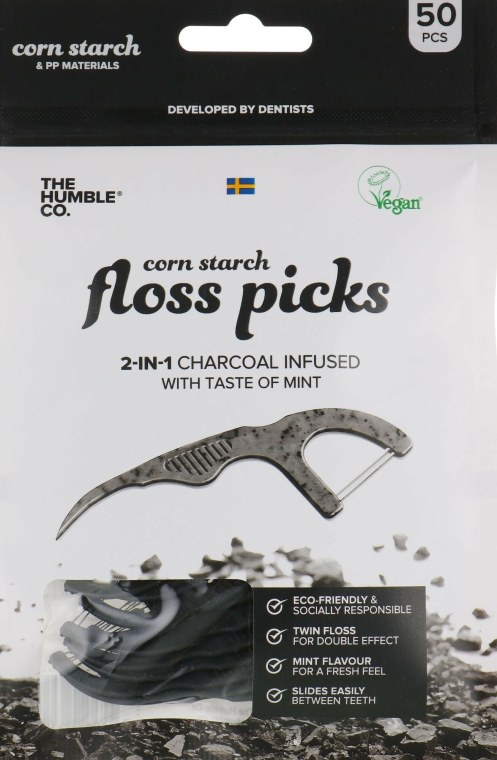 Ață dentară cu suport, negru - The Humble Co. Dental Floss Picks — Imagine N1