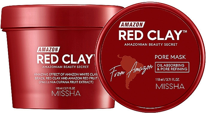 Mască pe bază de argilă roșie pentru față - Missha Amazon Red Clay Pore Mask — Imagine N1