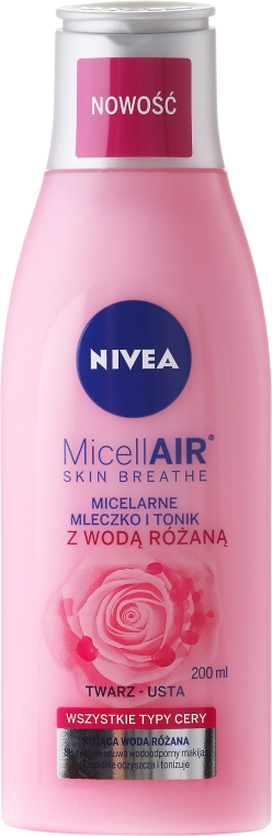 Tonic-Lăptișor micelar + apă de trandafir - Nivea MicellAir Skin Breathe — Imagine N1