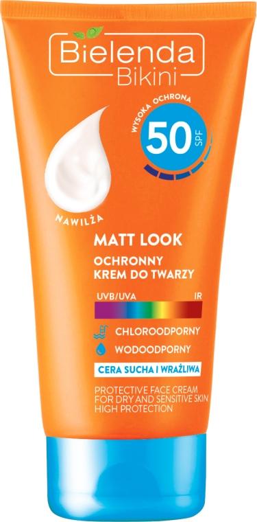 Cremă de protecție solară pentru corp SPF 50 - Bielenda Bikini Matt Look Perfective Face Cream — Imagine N1