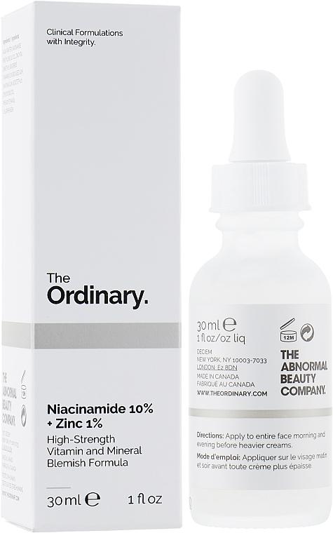 Ser cu niacinamidă și zinc pentru față - The Ordinary Niacinamide 10% + Zinc PCA 1%