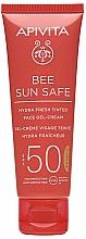 Parfumuri și produse cosmetice Cremă-gel cu alge marine și propolis pentru față - Apivita Bee Sun Safe Hydra Fresh Tinted Face Gel-Cream SPF50