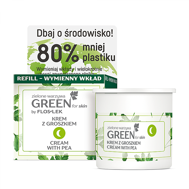 Cremă nutritivă cu mazăre de noapte pentru față, gât și decolteu - Floslek Green For Skin Nourishing Night Cream Refill — Imagine N1