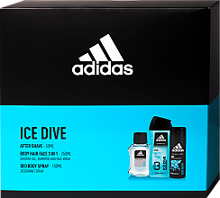 Parfumuri și produse cosmetice Adidas Ice Dive - Set (ash/lot/50ml + deo/150ml + sh/gel/250ml)
