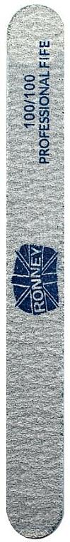 Pilă de unghii, 100/100, dreaptă, gri - Ronney Professional — Imagine N1