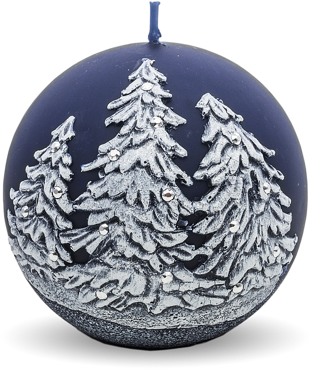 "Lumânare decorativă ""Ball. Christmas trees"", albastră 8 cm - Artman Christmas Tree Candle Ball — Imagine N1"