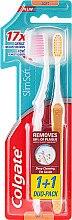 """Parfumuri și produse cosmetice Set """"Slim Soft"""", moale, galben + roz - Colgate Toothbrush"""