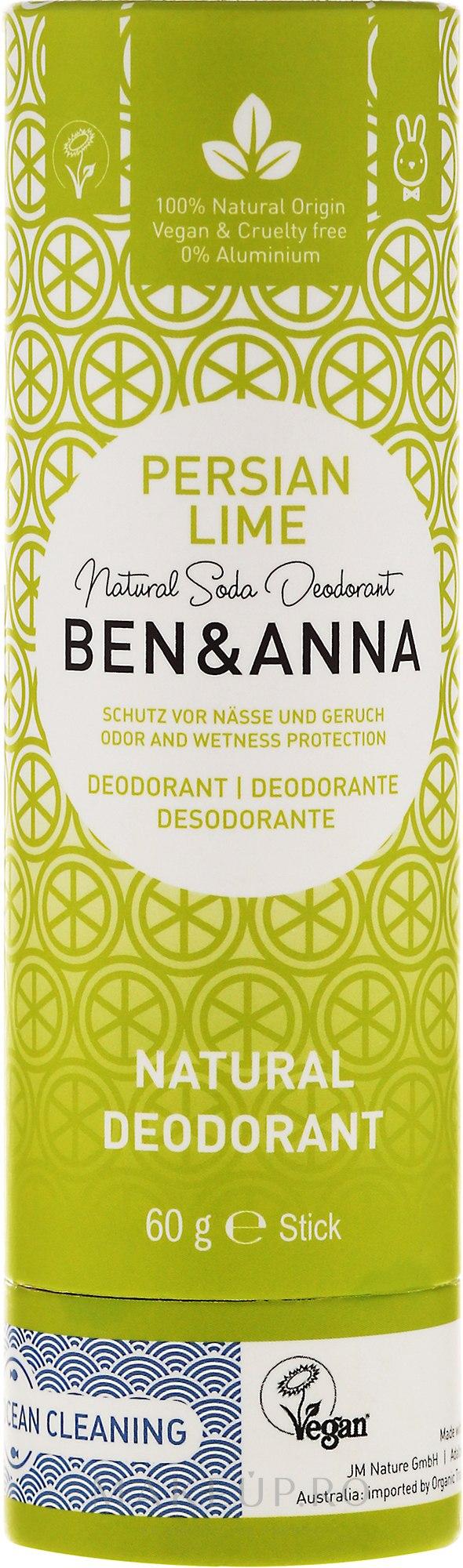 "Deodorant ""Persian Lime"" - Ben & Anna Natural Soda Deodorant Paper Tube Persian Lime — Imagine 60 g"