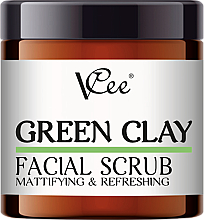 Parfumuri și produse cosmetice Peeling facial cu lut verde - VCee Green Clay Facial Scrub Mattifying&Refreshing