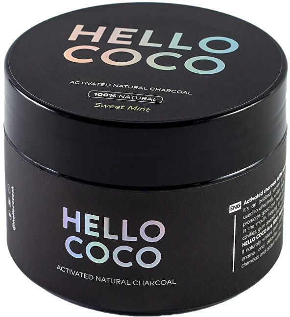 Praf cu efect de albire pentru dinți - Hello Coco Sweet Mint Activated Natural Charcoal Teeth Whitener — Imagine N2