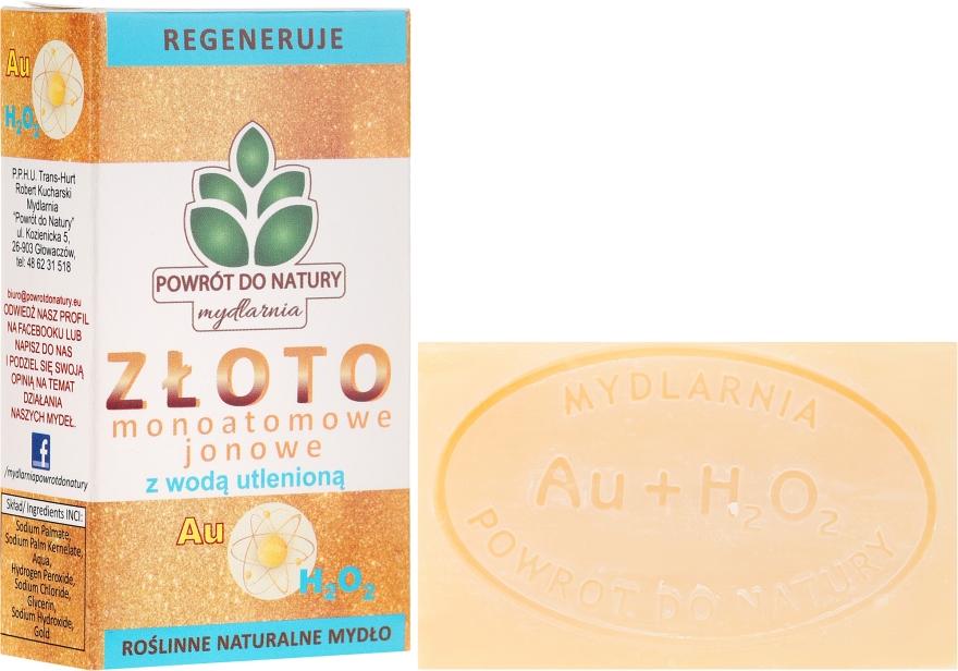 """Săpun natural """"Argint și Peroxid de hidrogen"""" - Powrot do Natury Natural Soap Matt Gold and Hydrogen Peroxide — Imagine N1"""