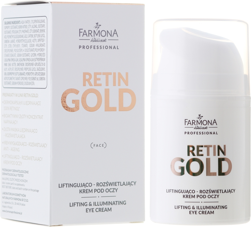 Cremă cu efect de lifting pentru zona ochilor - Farmona Retin Gold Lifting & Illuminating Eye Cream