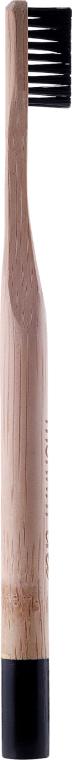 Periuță de dinți din bambus, duritate medie, cu peri negri - Mohani Toothbrush — Imagine N2