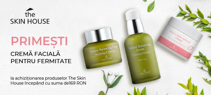 La achiziționarea produselor The Skin House, începând cu suma de 169 RON,  primești în dar o cremă facială pentru fermitate
