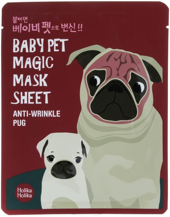 "Mască de țesut ""Mops"" - Holika Holika Baby Pet Magic Mask Sheet Anti-Wrinkle Pug"