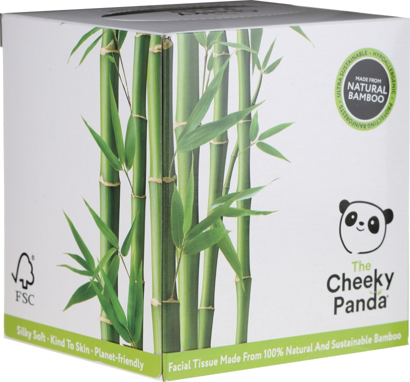 Șervețele uscate din bambus, 56 bucăți - Cheeky Panda Bamboo Facial Tissue Cube — Imagine N1