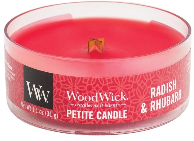 Lumânare aromată în suport de sticlă - Woodwick Petite Candle Radish & Rhubarb — Imagine N1
