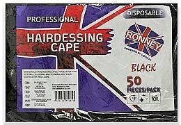 Parfumuri și produse cosmetice Pelerine din folie neagră de unică folosință - Ronney Professional Hairdressing Cape