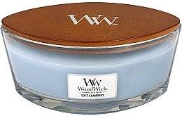 Lumânare parfumată în suport de sticlă - WoodWick Hearthwick Flame Ellipse Candle Soft Chambray — Imagine N2