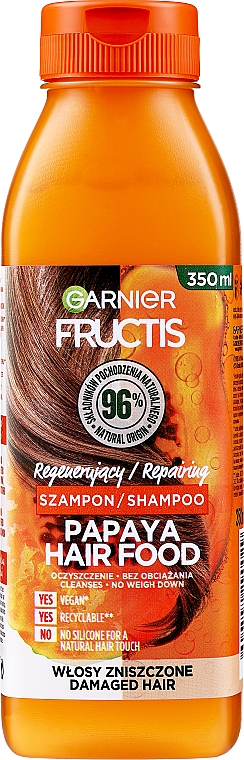 """Șampon pentru refacerea părului deteriorat """"Papaya"""" - Garnier Fructis Repairing Papaya Hair Food Shampoo"""