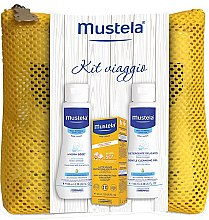 Parfumuri și produse cosmetice Set - Mustela Bebe (sun/cr/40ml + b/lot/100ml + cleanse/gel/100ml + bag)