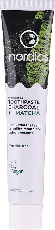 Pastă cu cărbune și matcha pentru albirea dinților - Nordics Whitening Charcoal Matcha Tooshpaste
