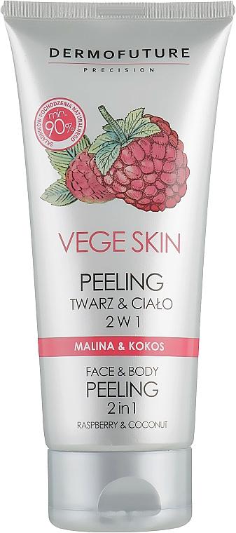 """Peeling pentru față și corp """"Zmeură și Nucă de cocos"""" - DermoFuture Vege Skin Face & Body Peeling Raspberry & Coconut"""