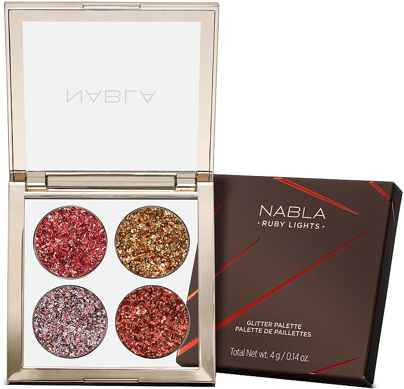 Paletă farduri de pleoape - Nabla Ruby Lights Collection Glitter Palette