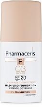 Parfumuri și produse cosmetice Fond de ten delicat SPF 20 - Pharmaceris F Intense Coverage Mild Fluid Foundation SPF20