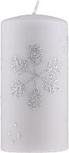 """Parfumuri și produse cosmetice Lumânare decorativă """"Fulg de zăpadă"""", 7x14cm, gri - Artman Christmas"""