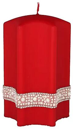 """Lumânare decorativă """"Stea"""", roșie, 9x18cm - Artman Crystal Opal Pearl — Imagine N1"""