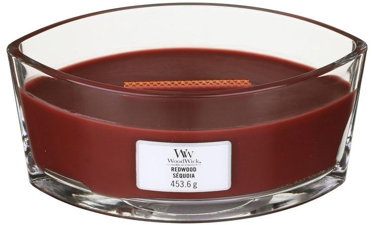 Lumânare aromată în suport de sticlă - Woodwick Hearthwick Flame Ellipse Candle Redwood — Imagine N1