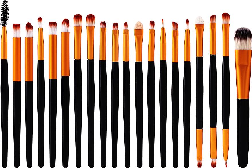 Set pensule pentru machiaj, 20 bucăți, negru-auriu - Lewer