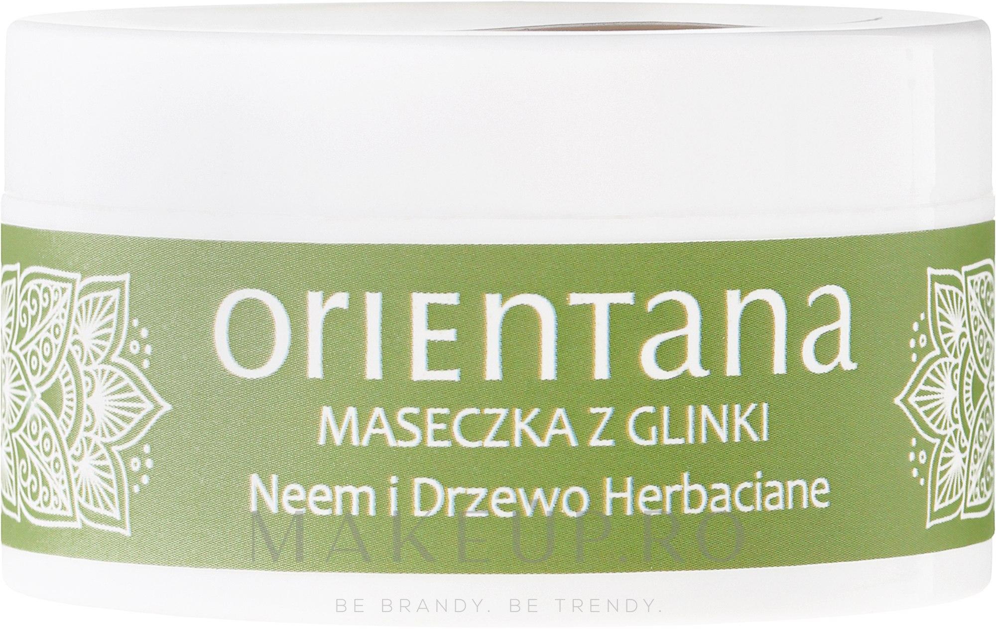 """Mască de față """"Neem și arbore de ceai"""" - Orientana Clay Face Mask Neem & Tea Tree — Imagine 50 g"""