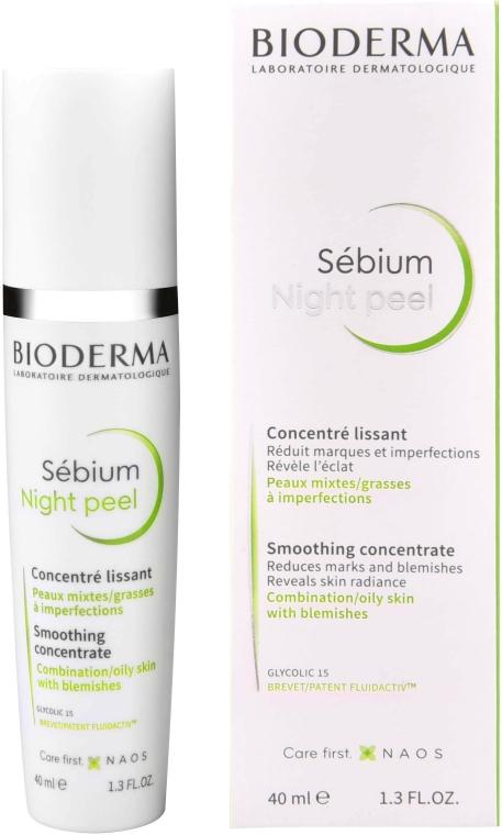 Concentrat cu efect de netezire pentru față - Bioderma Sebium Night Peel Smoothing Concentrate — Imagine N1