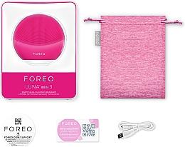Perie de curățare și masaj pentru față - Foreo Luna Mini 3 Facial Cleansing Brush Fuchsia — Imagine N3