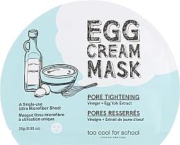 Parfumuri și produse cosmetice Mască din țesătură cu albumină de ou pentru față - Too Cool For School Egg Cream Mask Pore Tightening