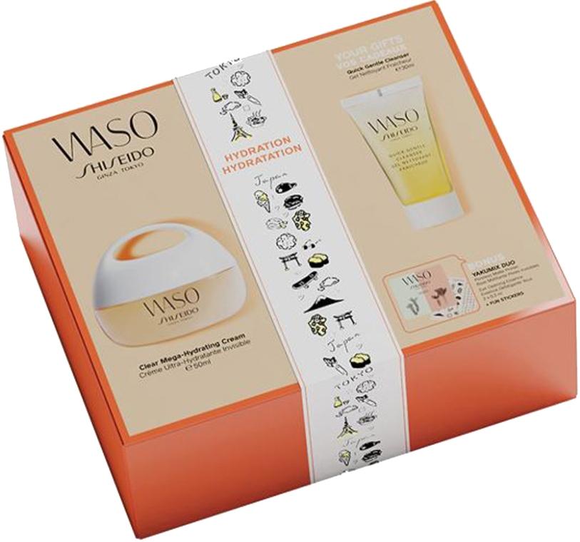 Set - Shiseido Clear Mega Hydrating Cream Set (f/cr/50ml+f/gel/30ml+eye/essence/0,3ml+f/primer/0,3ml+stickers) — Imagine N1